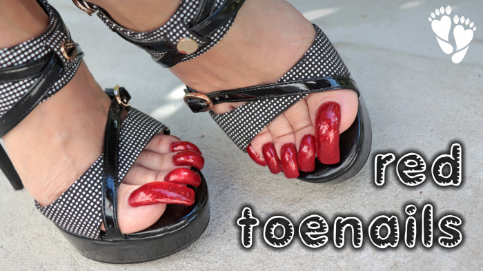 Parading black high heels with red nails. - YouTube