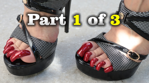 Long red toenails and ? high heels (part 1 of 3)