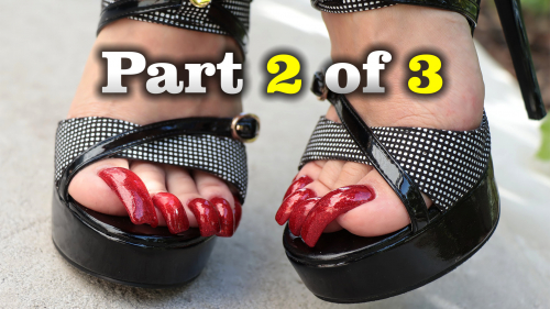 Long red ? toenails and high heels (part 2 of 3)