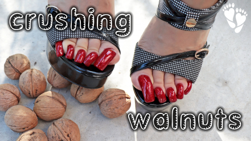 Crushing WALNUTS - Red TOENAILS - Black High HEELS