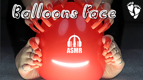 ASMR 🎧 Balloons Face with Long ToeNails (tapping, scratching)