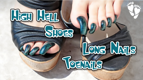 High heel shoes. Long nails and toenails. Scratching and tapping shoes