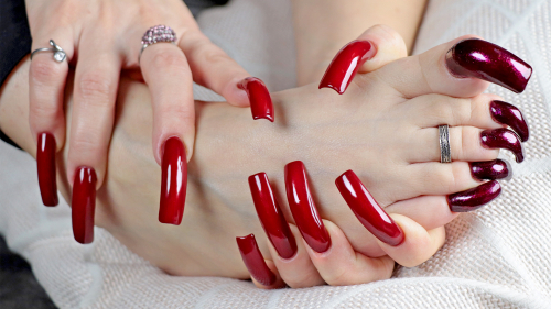 Toenails and fingernails 😲 RED NAILS (photosession 26.11.2020)