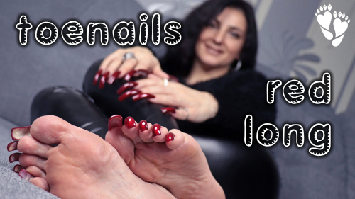 LONG 🔴 TOENAILS (black leggins + fingernails)