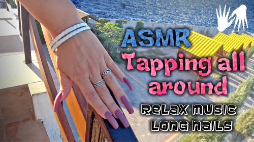 ASMR tapping/scratching around outside 🐠 🐚 Burgundy matte manicure